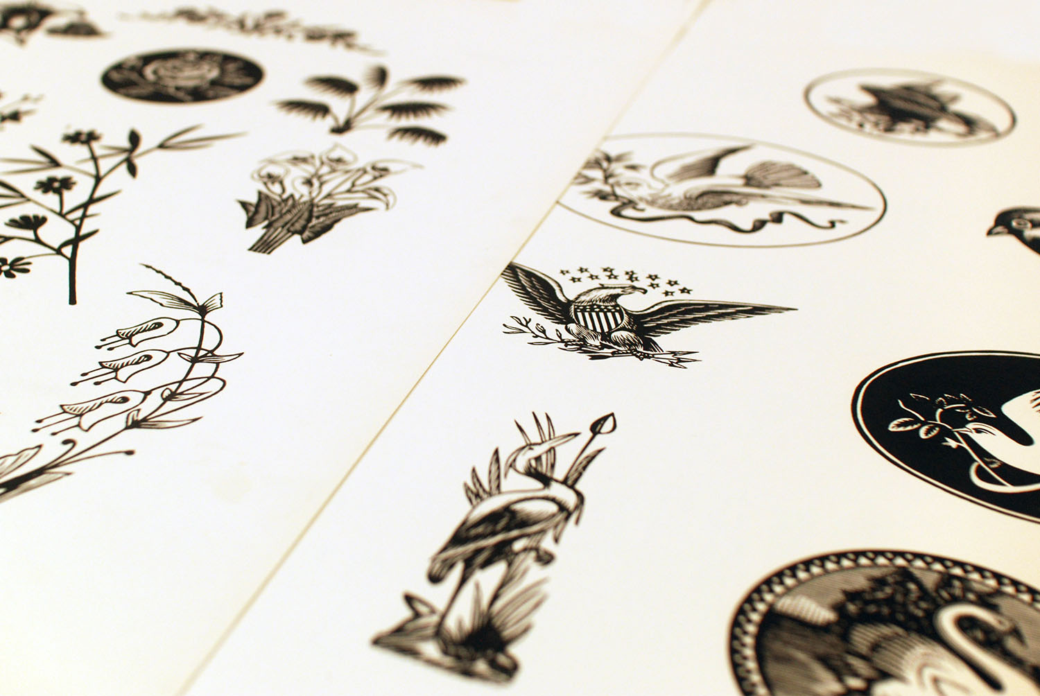 Letterpress images of flowers and birds