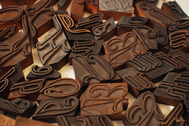 Script Wood Type in Box
